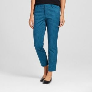 Merona Stretch Jacquard Pants Teal Blue Ankle Fit
